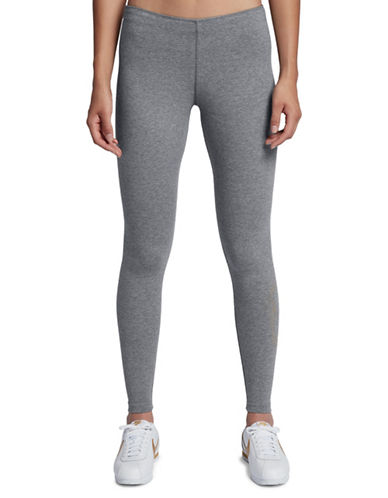 Nike Metallic Logo Leggings-GREY-Large