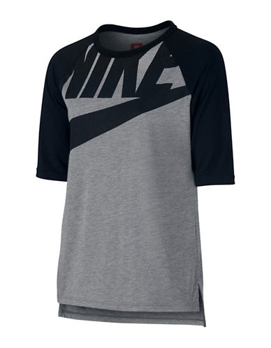 Nike Logo Raglan T-Shirt-GREY-X-Small
