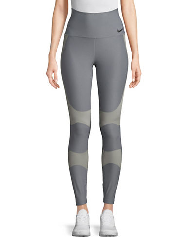 Nike Colourblocked High-Waist Leggings-GREY-X-Small