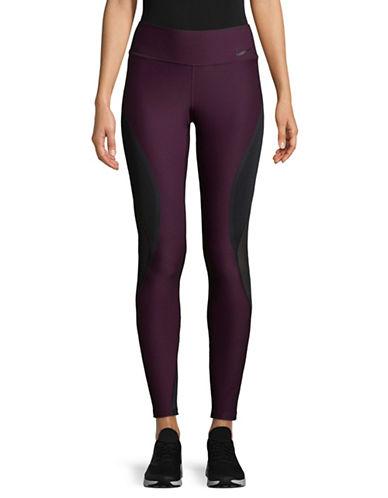 Nike Mesh-Paneled Leggings-PURPLE-Medium