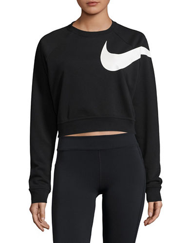 Nike Dry Logo Cropped Top-BLACK-Small