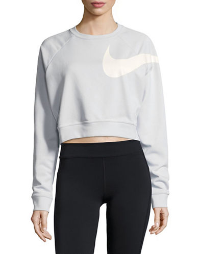 Nike Dry Logo Cropped Top-SILVER-Large