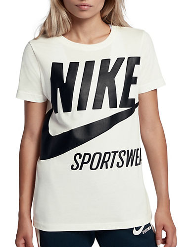 Nike Sportswear Logo Cotton Tee-WHITE-X-Large