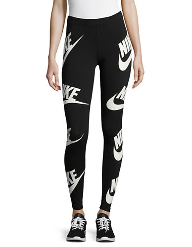 Nike Two-Tone Leggings-BLACK-X-Large