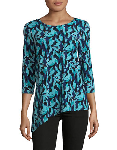 H Halston Asymmetric Hem Top-FLORAL-X-Small