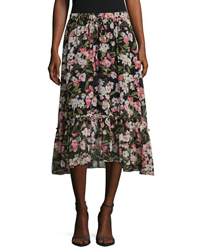 Imnyc Isaac Mizrahi Cherry Ruffle Tier Skirt-BLACK MULTI-X-Large
