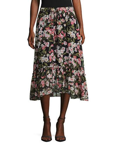 Imnyc Isaac Mizrahi Cherry Ruffle Tier Skirt-BLACK MULTI-Large