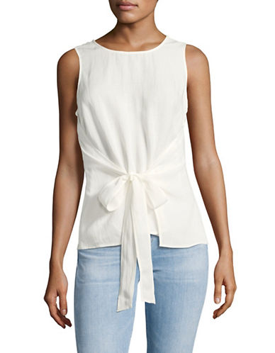 H Halston Sleeveless Tie-Front Wrap Over Top-IVORY-X-Small