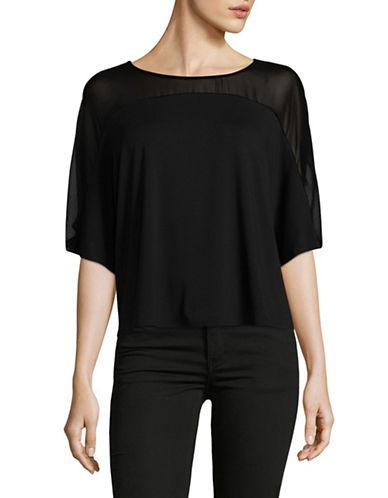 H Halston Sheer Yoke Dolman Tee-BLACK-X-Small