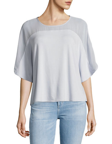 H Halston Sheer Yoke Dolman Tee-BLUE-Large