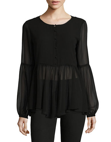 H Halston Blouson Sleeve Blouse-BLACK-Large
