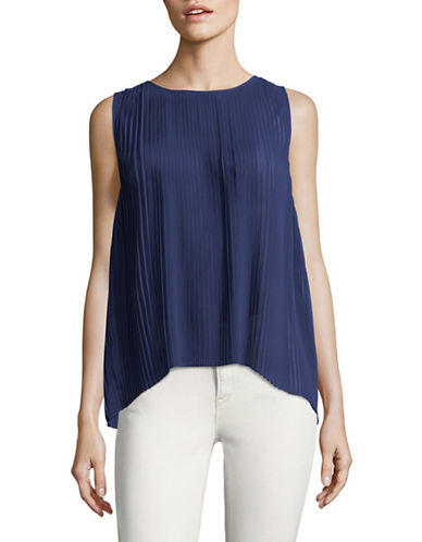 H Halston Sleeveless Pleated Sharkbite Top-BLUE-X-Large