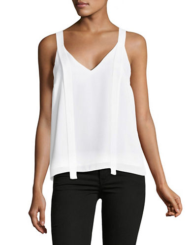H Halston Sleeveless V-Neck Top with Cut-Out-WHITE-Medium