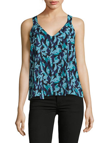H Halston Sleeveless V-Neck Top with Cut-Out-FLORAL-Small