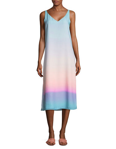 H Halston Ombre Printed V-Neck Dress-MULTI OMBRE-X-Small