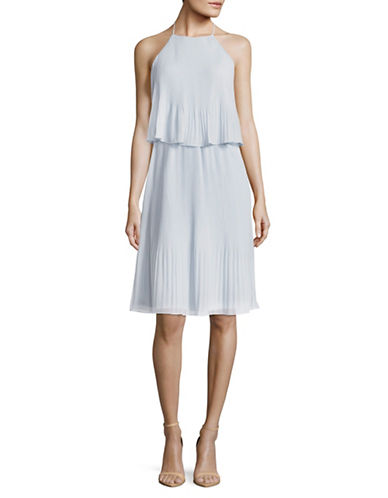 H Halston Layered Pleated Blouson Dress-BLUE-12