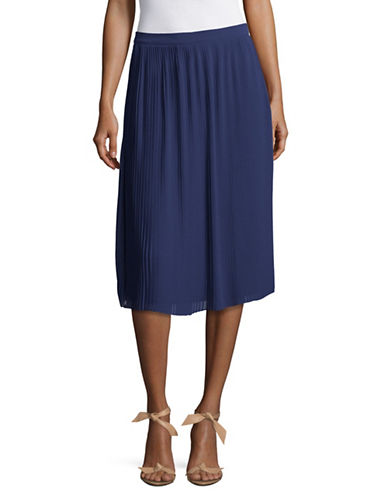 H Halston Pleated Midi Skirt-BLUE-4