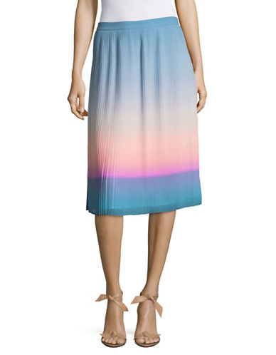 H Halston Pleated Midi Skirt-MULTI OMBRE-0