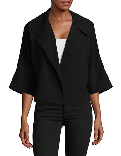 H Halston Oversized Kimono Sleeve Cropped Jacket-BLACK-Small