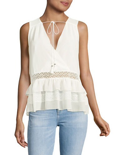 Highline Collective Sleeveless Two-Tier Ruffle Top-IVORY-Large