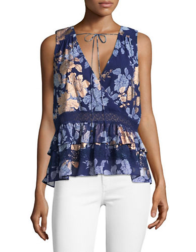 Highline Collective Surplice Tiered Ruffle Top-NAVY MULTI-X-Small