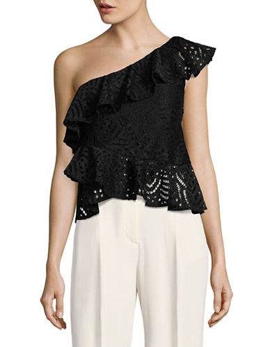 Highline Collective Lace Ruffled One-Shoulder Top-BLACK-Small