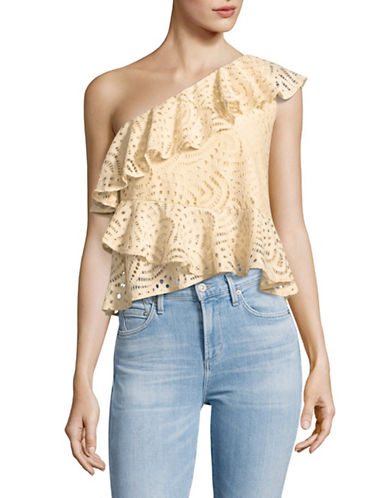 Highline Collective Lace Ruffled One-Shoulder Top-ECRU-Medium