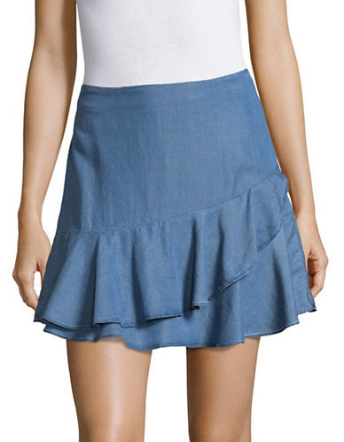 Highline Collective Tiered Chambray Ruffle Skirt-MEDIUM WASH-8