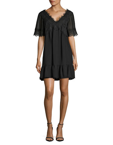 Highline Collective Lace-Trim Ruffle-Hem Dress-BLACK-Small