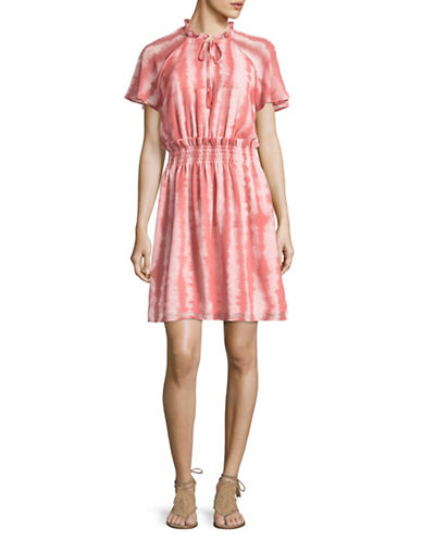 Imnyc Isaac Mizrahi Stripe Ruffle Neck Raglan Dress-PINK-Small