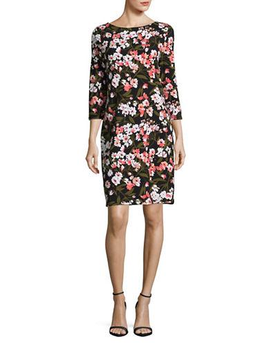 Imnyc Isaac Mizrahi Floral Sheath Dress-BLACK MULTI-Medium