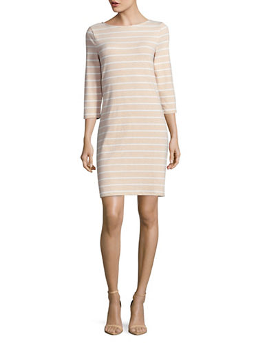 Imnyc Isaac Mizrahi Stripe Sheath Dress-NEUTRAL-X-Small
