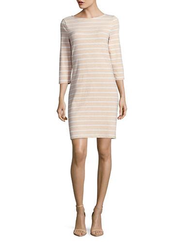 Imnyc Isaac Mizrahi Stripe Sheath Dress-NEUTRAL-Large