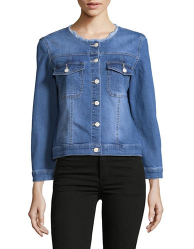 Imnyc Isaac Mizrahi Frayed Neckline Denim Jacket-BLUE-X-Large
