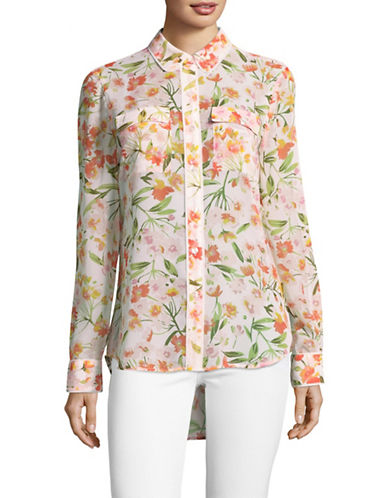 Imnyc Isaac Mizrahi Floral Hi-Lo Shirt with Piping-IVORY MULTI-Medium