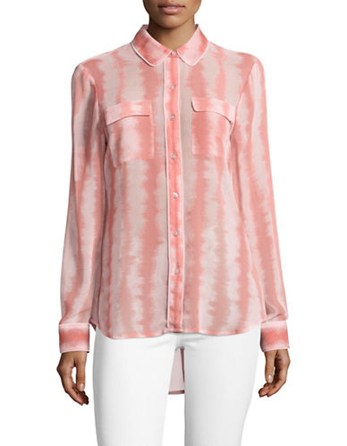 Imnyc Isaac Mizrahi Stripe Hi-Lo Shirt with Piping-PINK-X-Small