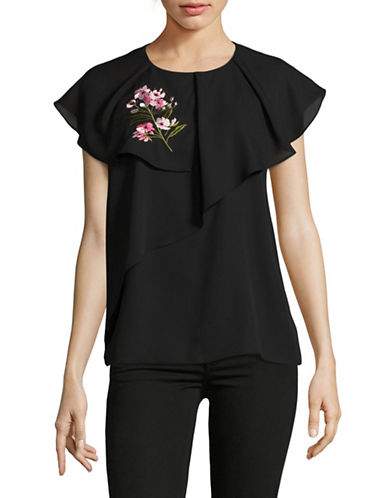 Imnyc Isaac Mizrahi Embroidered Layered Ruffle Blouse-BLACK-X-Large