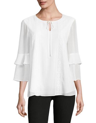 Imnyc Isaac Mizrahi Ruffle Sleeve Blouse-WHITE-X-Small