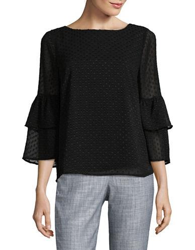 Imnyc Isaac Mizrahi Tiered Ruffle Sleeve Clip Dot Blouse-BLACK-X-Small