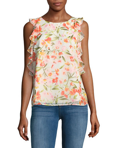Imnyc Isaac Mizrahi Floral Ruffled Sleeveless Blouse-IVORY MULTI-X-Large