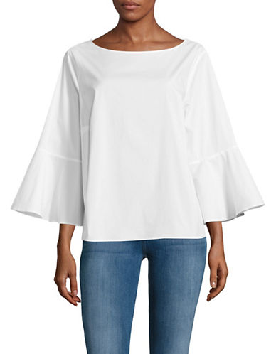 Lord & Taylor Plus Mia Bell Sleeve Blouse-WHITE-1X