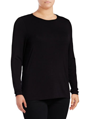 Lord & Taylor Plus Long Sleeve T-Shirt-BLACK-2X