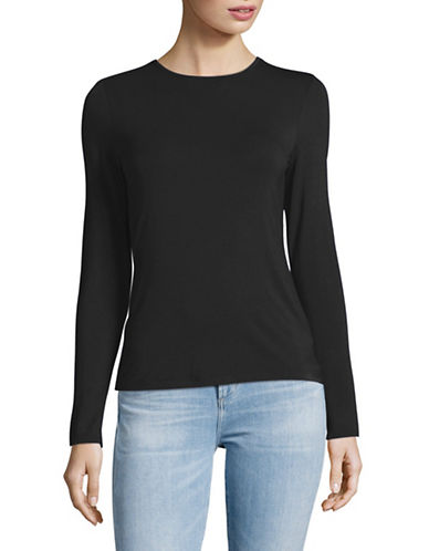 Lord & Taylor Petite Long Sleeve T-Shirt-BLACK-Petite X-Large
