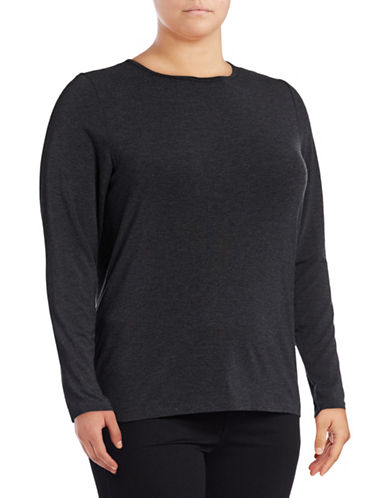 Lord & Taylor Plus Long Sleeve T-Shirt-CHARCOAL HEATHER-2X