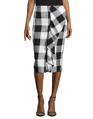 Lord & Taylor Gingham Ruffled Pencil Skirt-BLACK-12