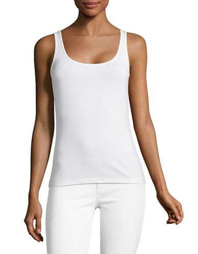 Lord & Taylor Petite Classic Iconic Fit Scoop Neck Tank-CLOUD WHITE-Petite X-Large