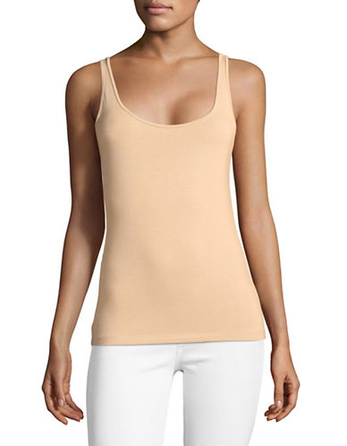 Lord & Taylor Petite Classic Iconic Fit Scoop Neck Tank-CLASSIC TAN-Petite X-Large
