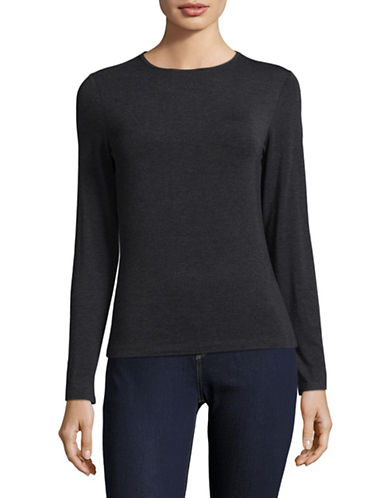 Lord & Taylor Petite Long Sleeve T-Shirt-CHARCOAL HEATHER-Petite Small