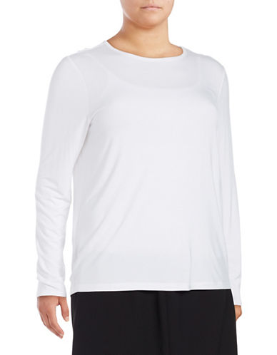 Lord & Taylor Petite Long Sleeve T-Shirt-CLOUD WHITE-Petite X-Large