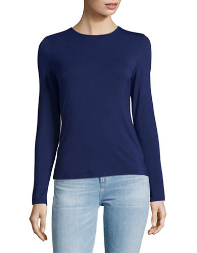 Lord & Taylor Petite Long Sleeve T-Shirt-NAVY NIGHT-Petite Small